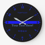 Personalize The Thin Blue Line with 3 Text Lines Large Clock