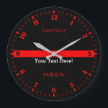 """Personalize The Thin Red Line with 3 Text Lines Large Clock<br><div class=""""desc"""">A personalized monogram Thin Red Line symbolic design on a black clock face. A great gift idea for gatherings, memorial celebrations and remembrance occasions. Three lines of text to make this watch as unique as you are. Use the &quot;Contact this Designer&quot; link to contact us with your special design requests...</div>"""