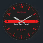 "Personalize The Thin Red Line with 3 Text Lines Large Clock<br><div class=""desc"">A personalized monogram Thin Red Line symbolic design on a black clock face. A great gift idea for gatherings, memorial celebrations and remembrance occasions. Three lines of text to make this watch as unique as you are. Use the &quot;Contact this Designer&quot; link to contact us with your special design requests...</div>"