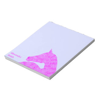 Personalize These Fun Pink Horse Pony Art Notes Memo Note Pads