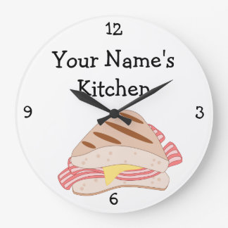 Personalize this Bacon Sandwich Food Graphic Large Clock