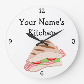 Personalize this BLT Sandwich Food Graphic Large Clock