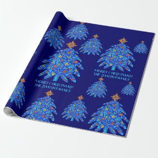 Personalize This Blue Christmas Tree Art Gift Wrap