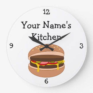 Personalize this Burger with Cheese Food Graphic Large Clock