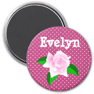 Personalize this Burgundy Rose Dotted Name Magnet