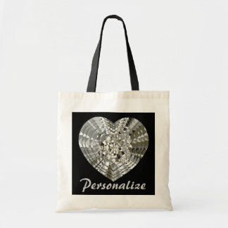 Personalize This Diamond Heart Tote Bag
