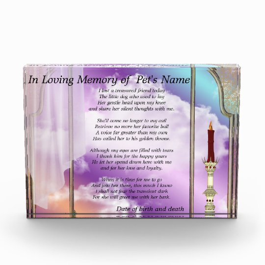 Personalize THIS Female Pet Memorial Acrylic Award