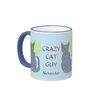 Personalize This Fun Crazy Cat Guy Coffee Cup Ringer Coffee Mug