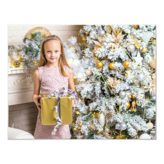 Personalize this Gold, Pretty Bow Christmas Card