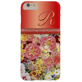 Personalize this gorgeous floral and red barely there iPhone 6 plus case