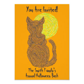 Personalize This Halloween Party Black Cat Invite