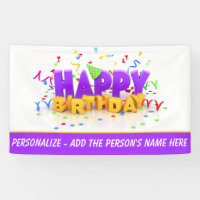 Personalize This Happy Birthday 3' x 5' Banner