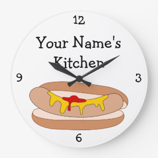 Personalize this Hot Dog in Bun Food Graphic Large Clock
