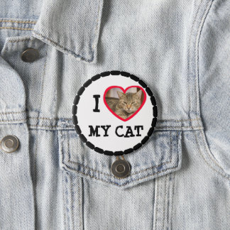 "Personalize this ""I Love my Cat"" Button"