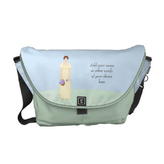 Personalize this Jane Austen Style Regency Girl Courier Bag