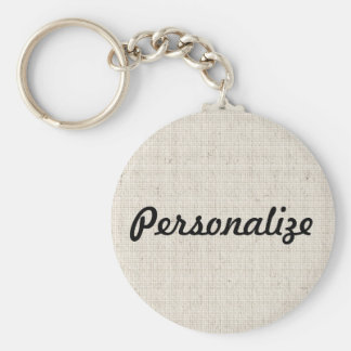 Personalize This Linen Look Keychain
