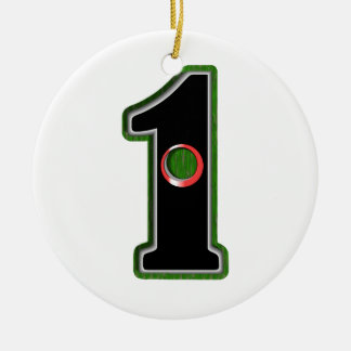 Personalize this Lucky Golfer Hole in One Design! Double-Sided Ceramic Round Christmas Ornament