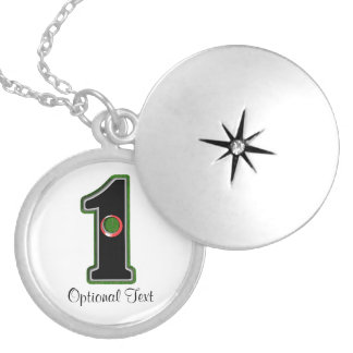 Personalize this Lucky Golfer Hole in One Design! Round Locket Necklace