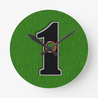 Personalize this Lucky Golfer Hole in One Design! Round Clock