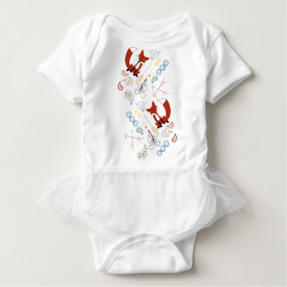 Personalize this Modern Fox  Woodland Pattern Baby Bodysuit