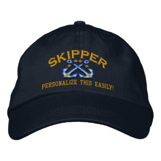 Personalize This Name Location Skipper Nautical Embroidered Hats