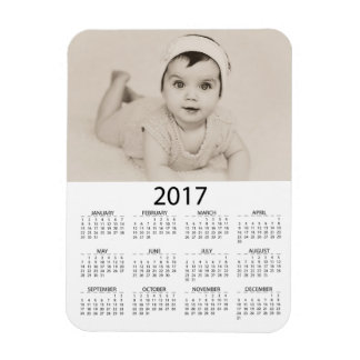 Personalize this Photo 2017 Mini  Calendar Rectangular Photo Magnet