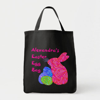 Personalize This Pink Easter Bunny And Eggs Canvas Grocery Tote Bag