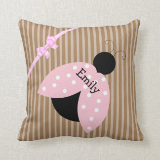 Personalize this Pink Ladybug Pillow