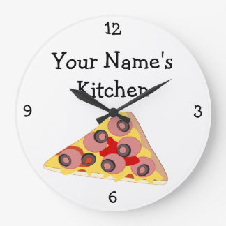 Personalize this Pizza Triangle Food Graphic Large Clock