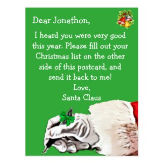 "Personalize this ""Postcard for Santa Claus"""
