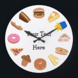"Personalize this Snack Time Graphics Large Clock<br><div class=""desc"">This is a clock for someone who loves snacks and cakes! Treat them to home baking, fast food, and posh desserts on this fun clock face that has foods instead of numbers. There&#39;s cheesecake, apple pie, fries, a hot dog, bagel, burger, a pizza slice, muffins, donuts and more! Personalize it...</div>"