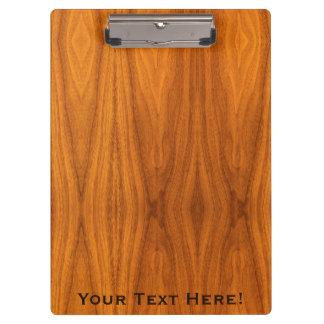 Personalize this Teak Wood Veneer Print Clipboards