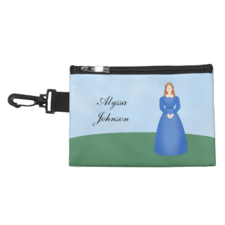 Personalize this Victorian Girl in Long Blue Dress Accessory Bags
