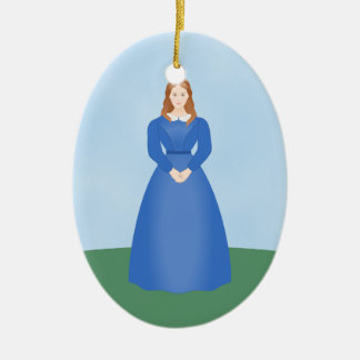 Personalize this Victorian Girl in Long Blue Dress Double-Sided Oval Ceramic Christmas Ornament