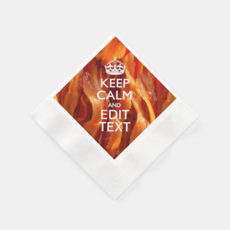 Personalize This with Keep Calm and Sizzling Bacon Coined Cocktail Napkin