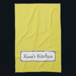 "Personalize this Yellow Polka Dot Kitchen Towel<br><div class=""desc"">This color of the sun kitchen towel will add cheer to your kitchen decor. This kitchen towel was created from an illustration of yellow and white polka-dot. A Badge was added so you can personalize with your own words. Kitchen towels make thoughtful gifts for a new home or for yourself...</div>"