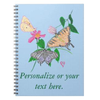 Personalize Three Butterflies Pointillism Notebook