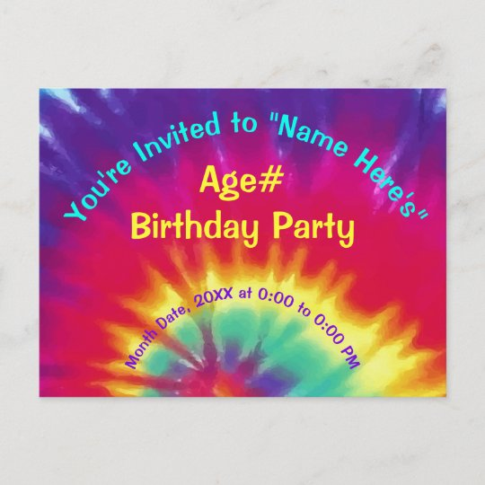 personalize tie dye birthday invitations your text zazzle com