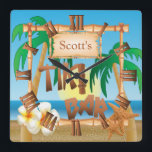 "Personalize Tiki Bar Design Square Wall Clock<br><div class=""desc"">Tiki Bar Wall Clock. Makes the perfect gift for your Tiki Bar. 100% Customizable. Ready to Fill in the box(es) or Click on the CUSTOMIZE button to add, move, delete or change any of the text or graphics. Made with high resolution vector and/or digital graphics for a professional print. NOTE:...</div>"