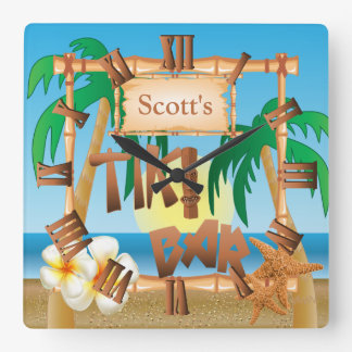 Personalize Tiki Bar Design Square Wall Clock