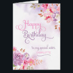 """Personalize to Sister, Happy Birthday Card<br><div class=""""desc"""">Pinkish/purple floral watercolor &amp; washes on the front of card has &quot;Happy Birthday to my special Sister&quot; in a beautiful,  swirly font,  and a spot to insert sister&#39;s name. Designed by Simply Put by Robin using elements from The Hungry Jpeg.</div>"""