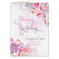 Personalize to Sister, Happy Birthday Card