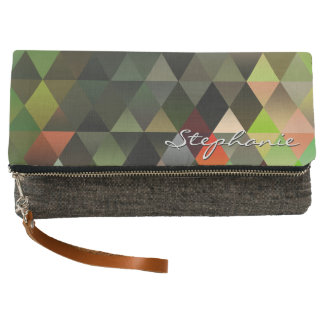 Personalize:Trendy Geometric Jewel Tone Triangles Clutch