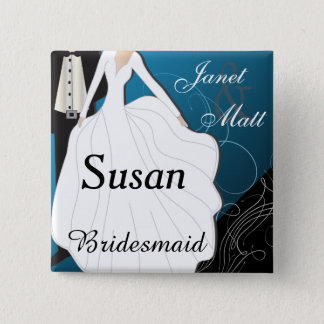 Personalize Turquoise Blue Wedding Party Pinback Button