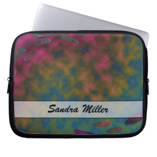 Personalize Turquoise Pink Yellow Abstract Computer Sleeve