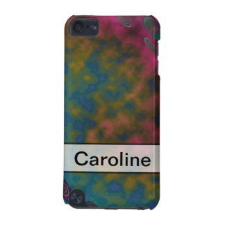 Personalize Turquoise Pink Yellow Abstract iPod Touch (5th Generation) Cover