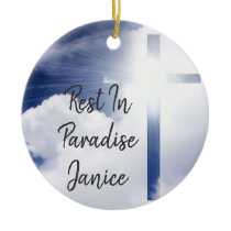 Personalize Two sided Rest in Paradise Memorium Ceramic Ornament