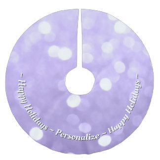 Personalize Ultra violet purple sparkly bokeh Brushed Polyester Tree Skirt