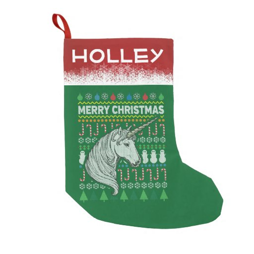 Personalize Unicorn Mythical Christmas Sweater Small Christmas Stocking