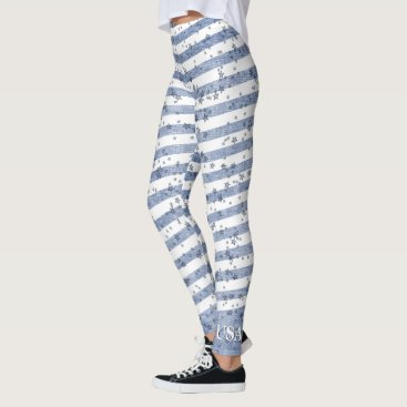 USA Themed Personalize:  USA Blue and White Patriotic Stripes Leggings